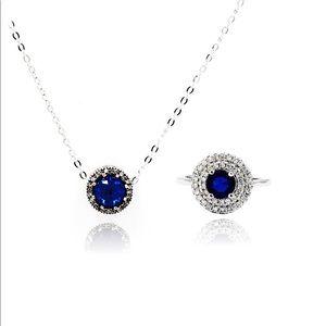 Fashion Blue Crystal Ring Necklace Set